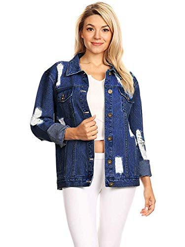 Womens Oversize Ripped Jean Indigo Blue Denim Jacket with Long Sleeve