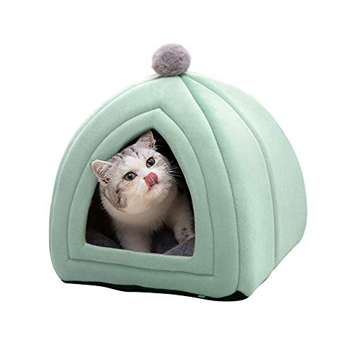 Famgizmo - Caseta para gatos, 47 x 47 x 47 cm, 2 en 1 con cúpulas, cojín extraíble para gatos o perros pequeños, tienda/cama/casa plegable para animales de compañía, color verde