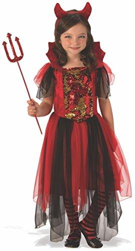 Halloween - Disfraz de Bruja diablesa para niña, color rojo - 3-4 años (Rubie's 641102-S)