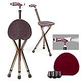 COSTWAY Krückenstuhl höhenverstellbar, Cane-Sitzhocker klappbar, Cane Stuhl Hocker aus Aluminiumlegierung, Gehstock mit LED-Licht für ältere Menschen, inkl. Kissenbezug, braun