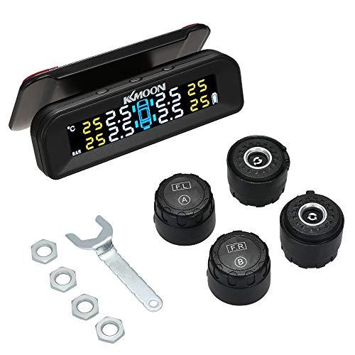 KKmoon TPMS Reifendruckkontrollsystem Solar Reifendruckmesser mit 4 Externe Sensoren LCD Display Alarmfunktion Temperatur Anzeige für Auto