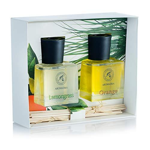 Conjunto de difusor de perfume 2 x 50 ml - Caja de Regalo Incluye Difusor de Lemongrass & Difusor de Caña Naranja - Mejor para Aromaterapia - SPA - Regalo Ideal - Aceites Esenciales 100% Puros
