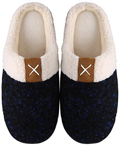Mishansha Memory Foam Hausschuhe Herren Damen Winter Pantoffeln Wärme Plüsch Fell Leicht Weich rutschfeste Harte Sohle Indoor & Outdoor Slippers für Frauen Männer(Blau, 46/47 (Herstellergröße 310 mm))