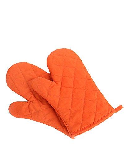 Nachvorn Oven Mitts, Premium Heat Resistant Kitchen Gloves Cotton & Polyester Quilted Oversized Mittens, 1 Pair Orange