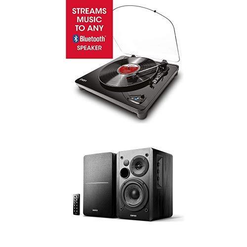 ION Audio Air LP + EDIFIER Studio R1280DB - Plattenspieler mit Lautsprecher Bundle - Vintage Bluetooth Plattenspieler mit 42Watt Bluetooth Lautsprechersystem, beide in edlem Schwarz