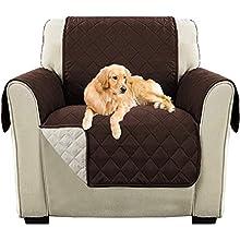 Funda para Sofá, Funda Protectora para sofá para Mascotas Funda Deslizante, Fundas para Sofa Acolchado, Cubre Sofa Reversible Bicolor, Almohadilla de protección contra Desgaste (1 Plaza, Marrón)