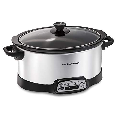 Hamilton Beach 7-Quart Programmable Slow Cooker With Flexible Easy Programming, Dishwasher-Safe Crock & Lid, Silver