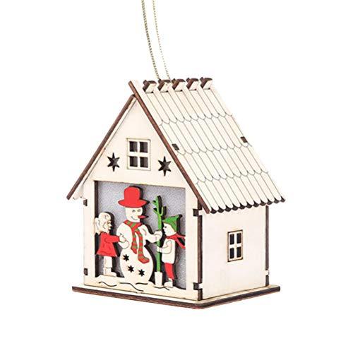 NICEXMAS Ciondolo a Forma di Albero di Natale in Legno Illuminato Cabin casa per Natale Anno Nuovo Decorazione–Colorful- (Pupazzo di Neve)