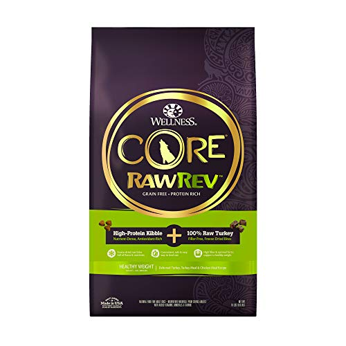 Wellness CORE Rawrev Grain Free Natural Dry Dog Food, Healthy Weight Deboned Turkey & Chicken With Freeze Dried Turkey Recipe, 18-Pound Bag