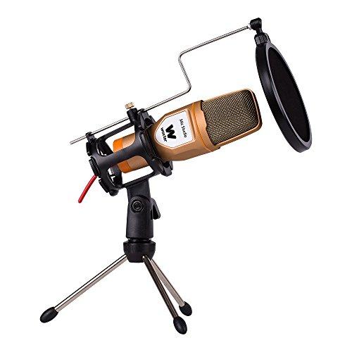 Woxter Mic Studio Golden - Micrófono de condensación, filtro Pop Killer, Trípode incluido, Conexión 3,5mm, Youtube, Skype, Twitch, color dorado