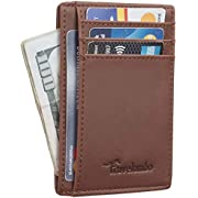 Travelambo Front Pocket Minimalist Leather Slim Wallet RFID Blocking Medium Size(CH Deep Brown)