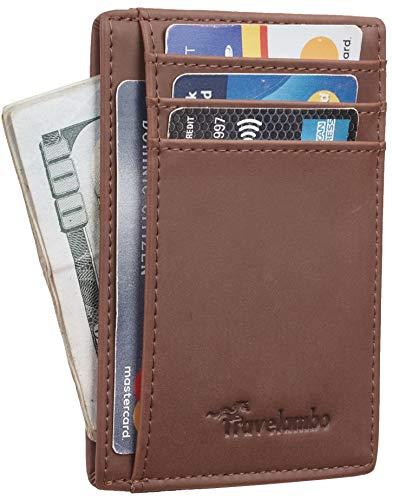 Travelambo Front Pocket Minimalist Leather Slim Wallet RFID Blocking Medium Size(CH Deep Brown)
