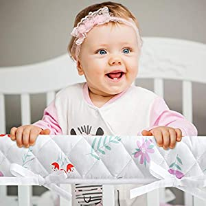 crib bedding and baby bedding 3-piece padded baby floral crib rail cover protector set from chewing, crib rail teething guard for standard cribs, 1 front rail and 2 side rails, secure crib rail guard