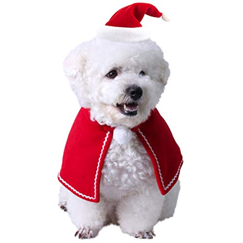 COSYLAND Disfraz de Navidad para Perro Gato, Capa para Mascotas, Gorra Papá Noel Ajustable, Fiesta de Navidad/Halloween/Año Nuevo, Rojo+Blanco