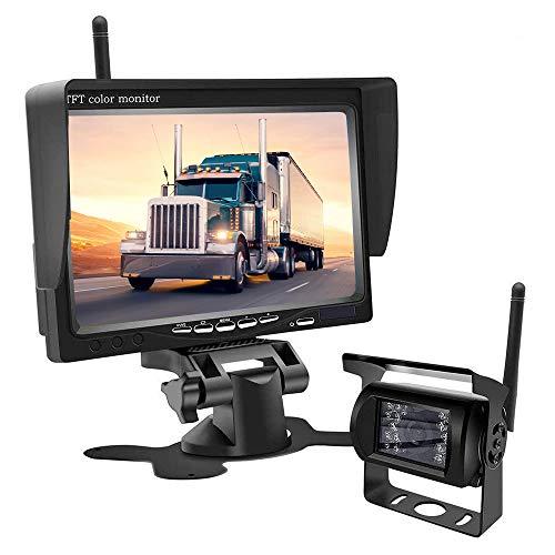 Kabelloses Rückfahrkamera-Kit - 18 LED-Leuchten Super-Nachtsicht-Auto-Rückfahrkamera, Rückfahrkamera-Monitor-Kit für LKWs, Wohnmobile, Geländewagen