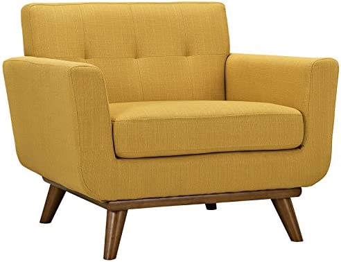 Best Modway Engage Mid-Century Modern Upholstered Fabric Accent Arm Lounge Chair in Citrus