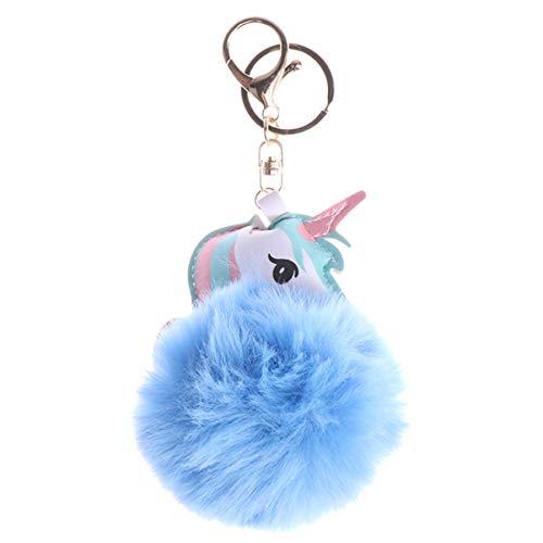 Valiclud Schlüsselanhänger Einhorn weich Plüsch Kunstfell Pompon Ball Schlüsselanhänger Rucksack Geldbeutel Schmuckkästchen Anhänger, CMP55U5349O15N, CMP55U5349O15N One size