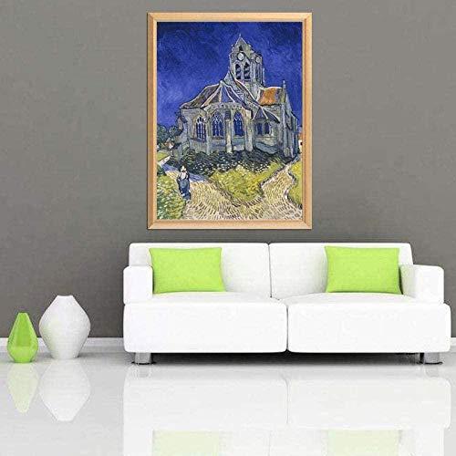 YYTTLL gran pintor Van Gogh la Iglesia en Auvers 5D Diy pintura de diamante cuadrado completo/imagen de diamantes de imitación redondos 40X50Cm