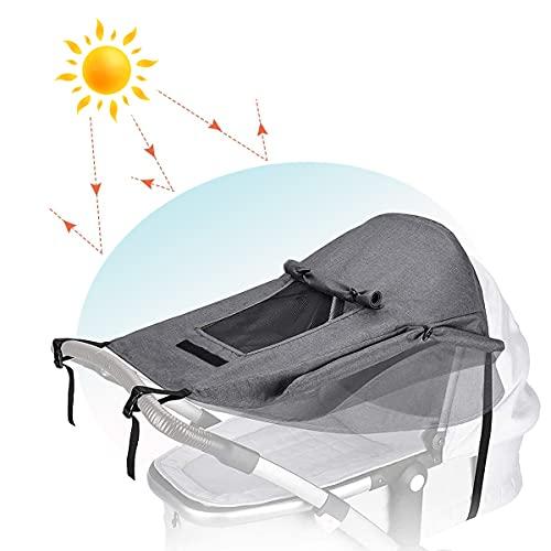 Toldo Silla De Paseo Con Tragaluz y alas Enrollables - Bebés Parasol Toldo Cochecitos Ajustable,Protector Solar para Cochecitos con Protección UV 50+ y Función de Persiana Enrollable (Gris)