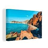Leinwandbild - Santorin - Griechenland - Strand - 120x80 cm