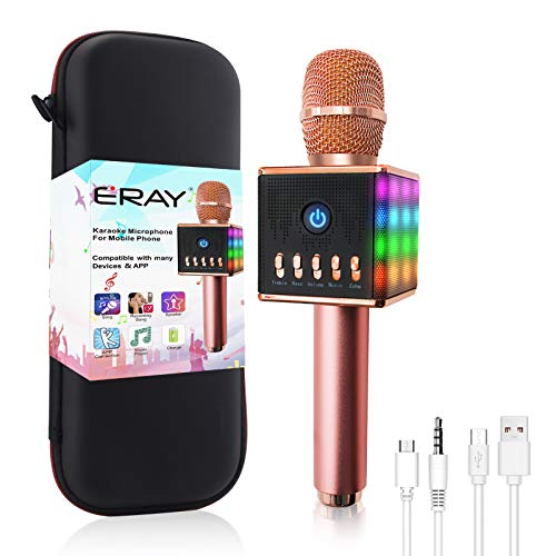 ERAY Micrófono Inalámbrico Karaoke, Micrófono karaoke Bluetooth, 2 Altavoces Incorporados, LED Luces de Colores, Soporta TF Tarjeta, 3.5mm AUX, Compatible con Smartphone, Color Rosado
