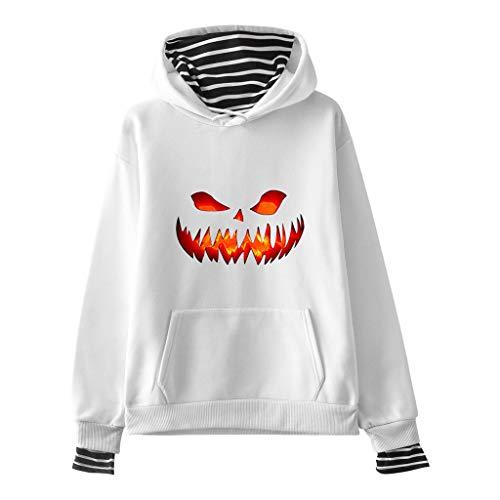 Best Deals! Women's Hooded Sweatshirts Blouses Tops Halloween Pumpkin Devil Pullover Sweatshirt Long...