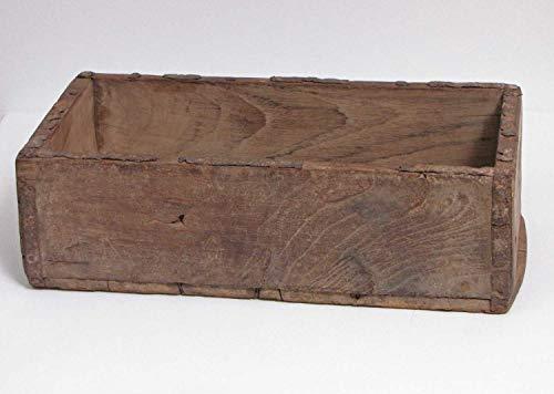 Rustikaler Holzkasten altes Teakholz Länge 25 cm Holzschale Dekoschale Dekokiste
