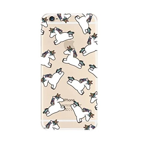 Beschermhoes voor iPhone 6 en 6S van siliconengel, zacht, transparant, eenhoorn, flamingo, cactus, fantome, Love, Flamingo (paard)