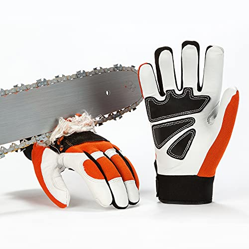 Vgo 1-Pair Chainsaw Work Gloves Saw Protection on Left Hand Back (Size XL, Orange, GA8912)