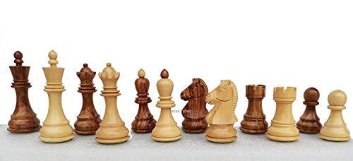 Generic Piezas de ajedrez de Dubrovnik en Palo de Rosa Dorado - Reproducción de Piezas de ajedrez de Bobby Fischer de 1950 - Rey 3.7 '| Piezas de ajedrez de Lujo | 2 Reinas adicionales