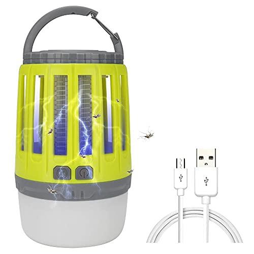 YYXT 3 en 1 Linterna Antimosquitos Eléctrica, lámpara Camping Antimosquitos con 3 Modos de Brillo,USB Recargable y IP67 Impermeable, UV Luz Asesino de Mosquitos, Ideal para Llevar de Camping