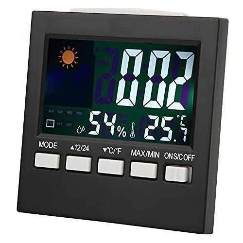 HERCHR Wetterstationen Wireless Indoor Outdoor, Temperatur-Feuchtigkeits-Monitor mit Wecker
