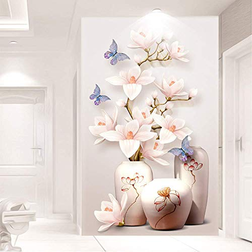 EXQULEG DIY 5D Diamant Stickerei, Schmetterlinge Magnolia Vase Runder Diamant Malerei Stickpackungen, Kreuzstich Arts Craft für Home Wand-Decor (60 x 100cm)