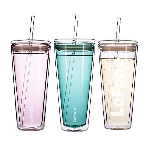 Thermobecher aus Glas,Travel Mug,Kaffeebecher to go,600 ml Doppelwandiger Isolierbecher mit Deckel und 2 Strohhalme (Blau)