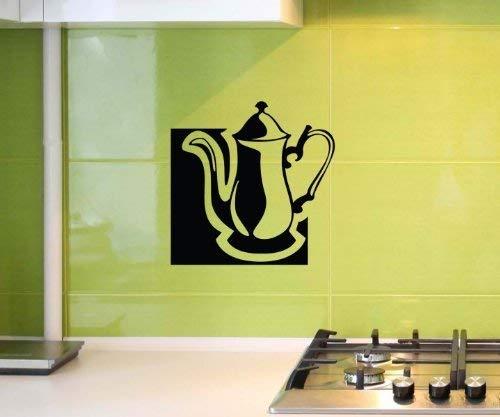 Wandtattoo Teekanne Tee Kanne Tattoo Küche Spruch Wandbild Aufkleber 5Q006, Farbe:Pastellorange glanz;Hohe:35cm