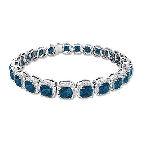 Pulsera de topacio azul de Londres de 12 quilates, pulsera de oro Moissanita Halo de 2.4 quilates, pulsera de oro con piedra preciosa certificada SGL, pulsera de declaración para mujer azul