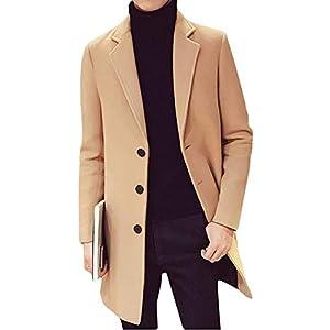 BLACK MOTEL コート メンズ チェスターコート ロング ジャケット 秋 冬 春 ウール 薄手 アウター ビジネス 紳士服 (ベージュ, XL(日本サイズL))
