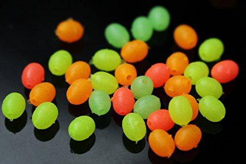 200 Stück 4 Farben gemischte leuchtende ovale Plastikperlen, die im Dunklen leuchten, weiche, sinkende Schüttperlen, Zubehör, Fliegenbindematerial