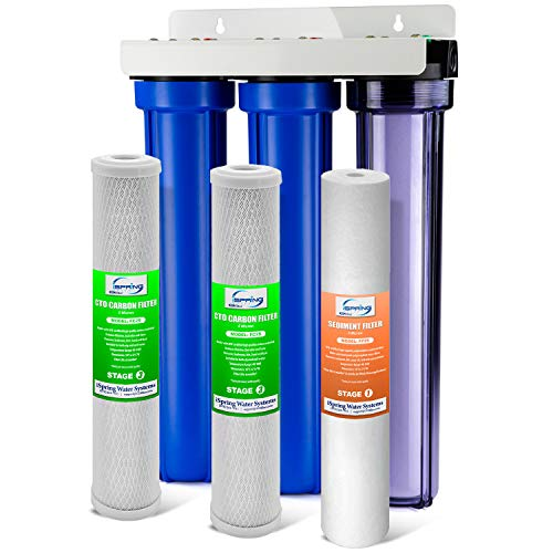 """iSpring WCB32C 3 Whole Water Filtration System w/ 20"""" x 2.5"""" Oversized Fine Sediment and Carbon Block Clear 1st Stage Filter Housing, Multi"""