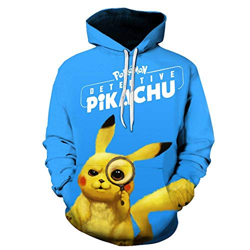 Hoodies,3D Big Detective Pikachu Digitale Print Hoodie, Sport Casual Trekkoord Pocket Fleece Clip Overcome