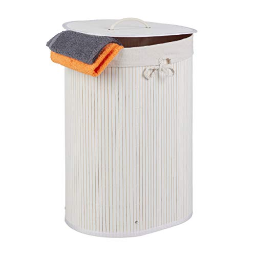 Relaxdays Cesto para la ropa sucia (bambú, ovalado, 46 L, plegable, con tapa, para baño y dormitorio, 55 x 42 x 32 cm), color blanco