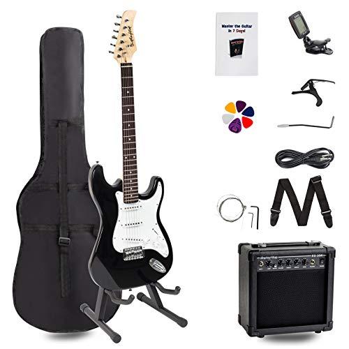 Display4top Kit de guitarra eléctrica Amplificador de 20 vatios, soporte de guitarra,...