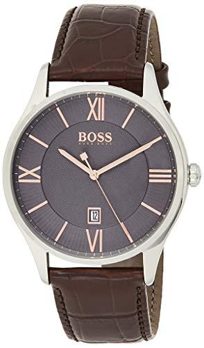 Hugo Boss Herren Chronograph Quarz Armbanduhr mit Lederarmband 1513484