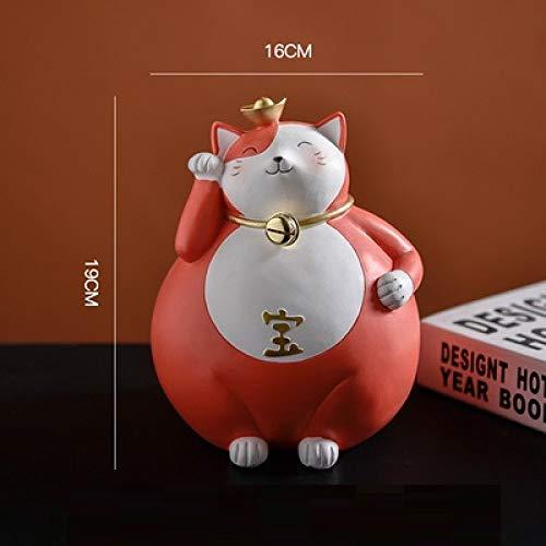 DIAOSUJIA sculptuur, rode Japanse creatieve figuur Fortune Cat Statue hars handwerk woonkamer decoraties voor thuis kassa ornamenten
