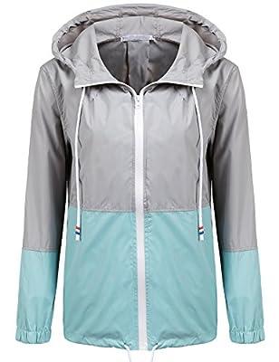 Soteer Women's Waterproof Raincoat Outdoor Hooded Rain Jacket Windbreaker (Lake Blue L) from