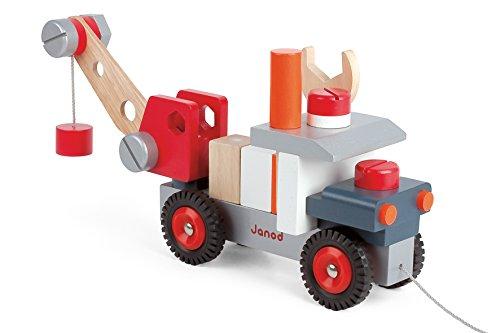 Janod 4506509 - Lastwagen mit Kran aus Holz