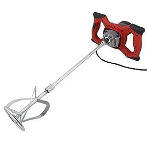 Agitador - Mezclador de mortero eléctrico con 6 velocidades para yeso, mortero, pintura cemento, color rojo