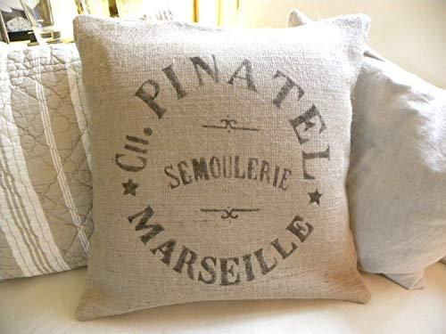 Funda de almohada de arpillera, imitación de saco de trigo francés, 45 x 45 cm