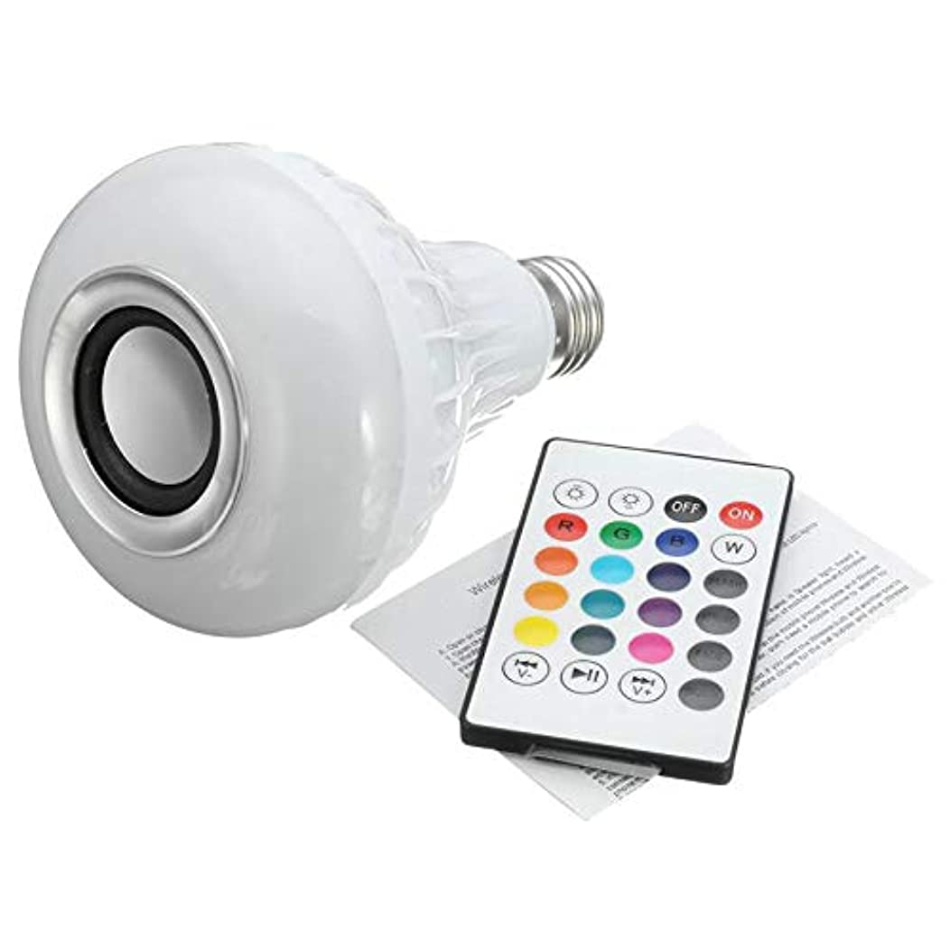 Smart E27 RGB Bluetooth Speaker Bulb Light 12W Music Playing Dimmable Wireless LED Lamp with 24 Keys Remote Control