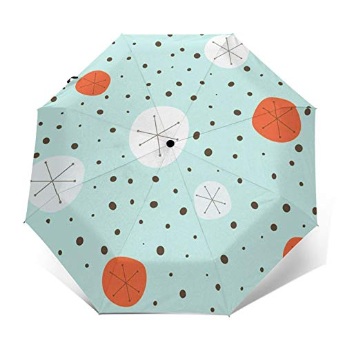 Windproof Travel Folding Umbrella Automatic Mid 1950s 1960s, Large Rain Folding Compact Umbrella Portable Fast Drying with Auto Open Close Button